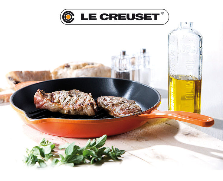 le creuset round skillet grill red