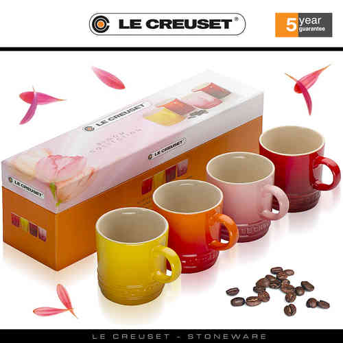 Le Creuset - Set of 4 Espresso Mugs - Bloom Gift Set