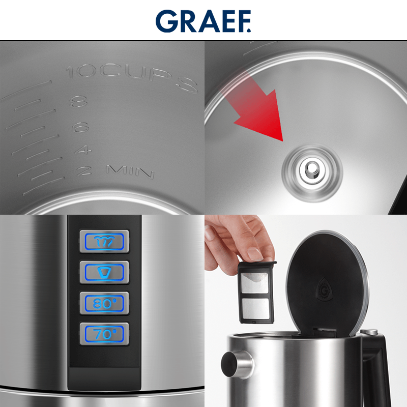 Graef Stainless Steel Electric Kettle Wk 900 Cookfunky