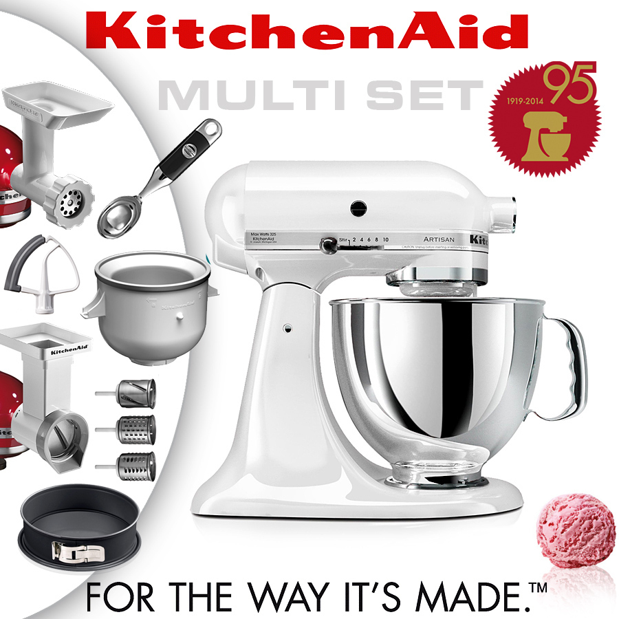 kitchenaid artisan stand mixer set white cookfunky. Black Bedroom Furniture Sets. Home Design Ideas