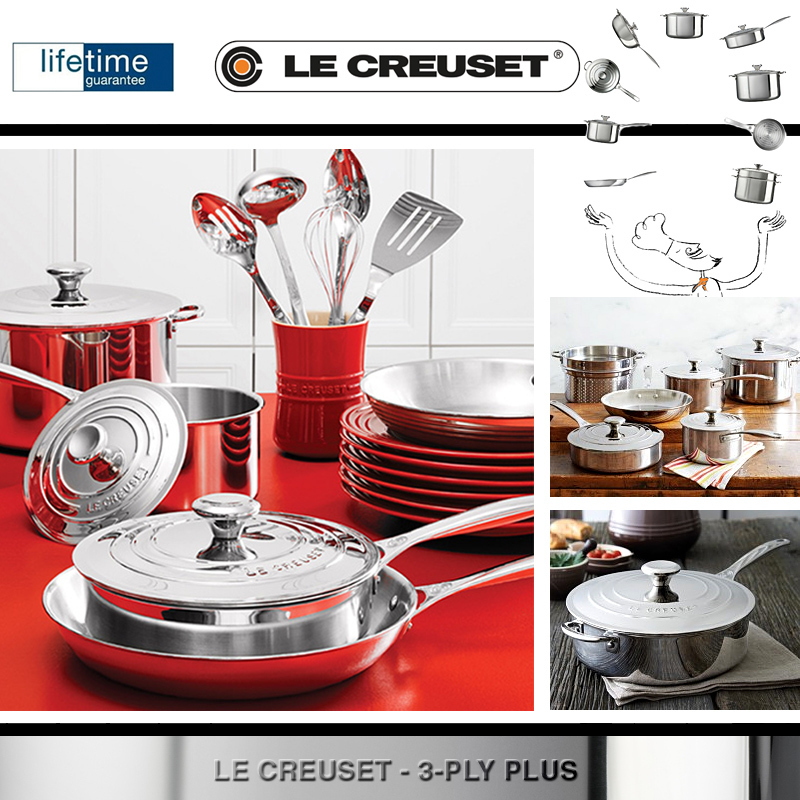 le creuset 3 ply plus fry pan 20 cm cook. Black Bedroom Furniture Sets. Home Design Ideas
