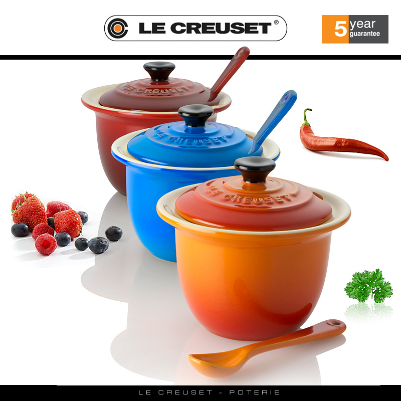 le creuset stoneware condiment pot with spoon cookfunky. Black Bedroom Furniture Sets. Home Design Ideas