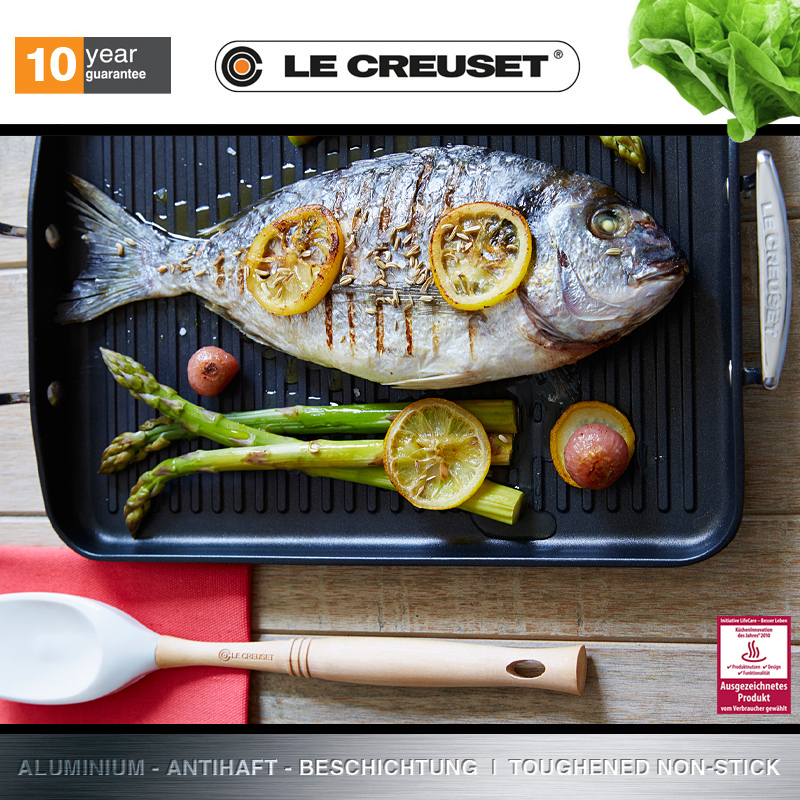 Le Creuset Meat Grill with ribs 34x25 cm Non Stick BBQ
