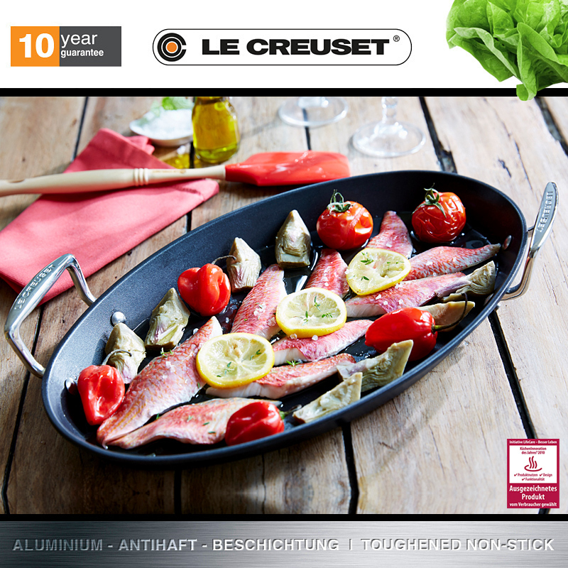 le creuset aluminium ovale pfanne 40x25 cm bbq. Black Bedroom Furniture Sets. Home Design Ideas