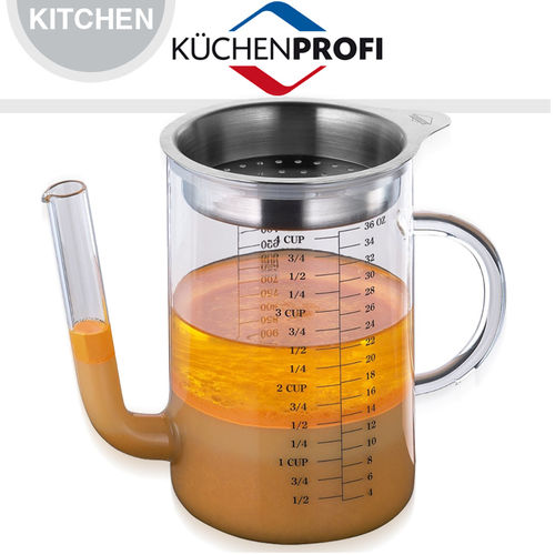 Fat separator jug glass