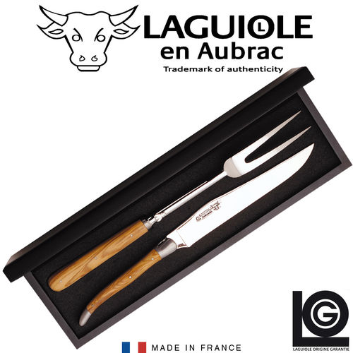 Laguiole - carving set -  juniper wood
