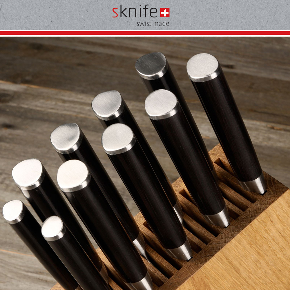 sknife messerblock eiche f r 10 messer schr g. Black Bedroom Furniture Sets. Home Design Ideas