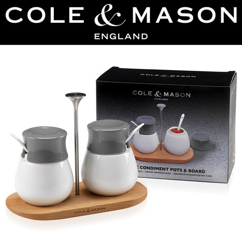 COLE & MASON - Ceramic Condiment Pots & Board