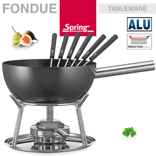 Spring - Fondue Garnitur Alu Induction schwarz