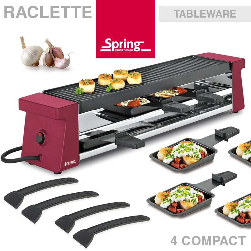 sale spring raclette 4 compact rot ebay. Black Bedroom Furniture Sets. Home Design Ideas