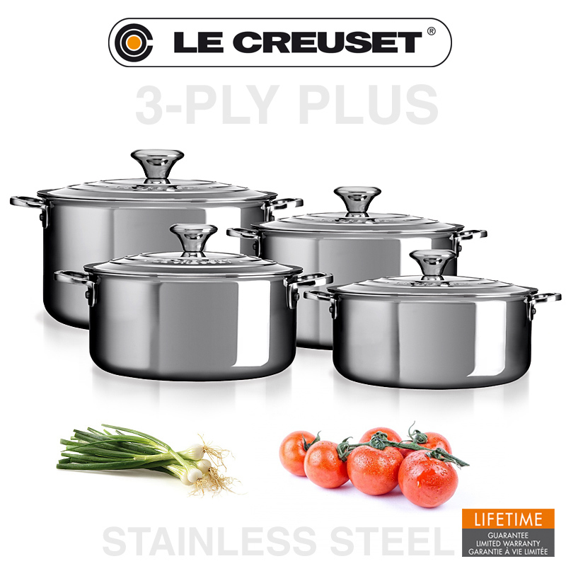 le creuset 3 ply plus 4 piece cookware set cookfunky. Black Bedroom Furniture Sets. Home Design Ideas