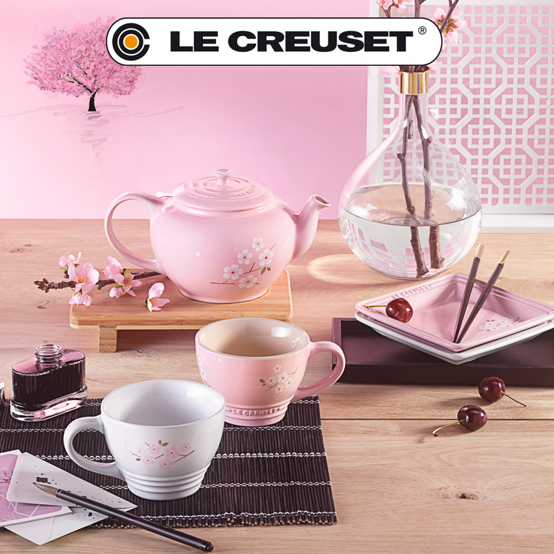 le creuset 2er set cappuccino tassen 400 ml sakura pink ch. Black Bedroom Furniture Sets. Home Design Ideas