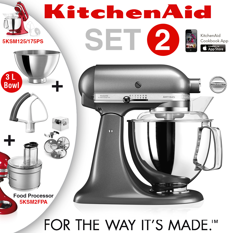 KitchenAid - Artisan Küchenmaschine - Set 2 Medallion Silber - KA