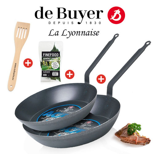 de Buyer - La Lyonnaise - Round Frying Pan 26 & 30 cm + Spatula + Spice laurel