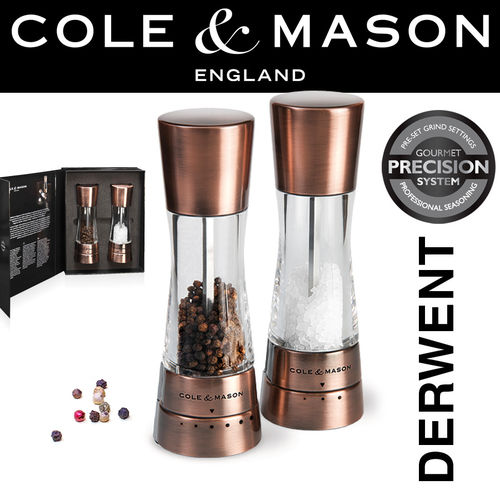 COLE & MASON - Derwent Pepper and Salt Mill Set Copper