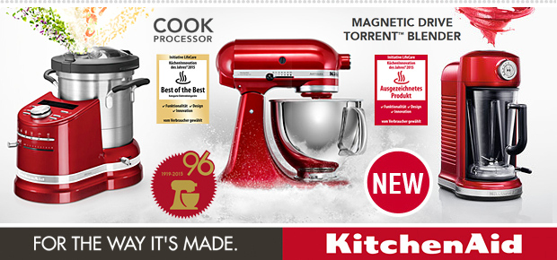 KitchenAid 2015 - For the Way it`s Made. Artisan Cook Processor - Artisan  Magnetic Drive Torrent™ Blender