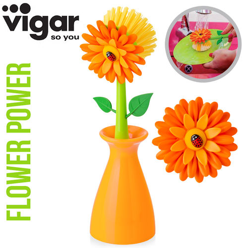 Vigar - Dish brush Vase - orange