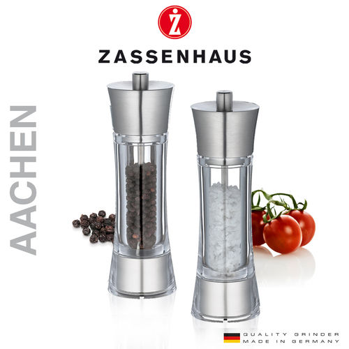 "Zassenhaus - Pepper and salt mill ""Aachen"" - Acrylic / steel - 18 cm"