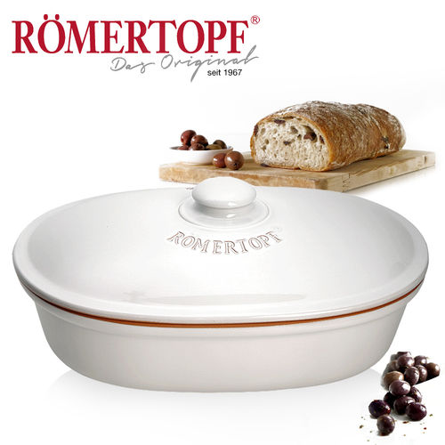 Römertopf - Bread pot oval - white