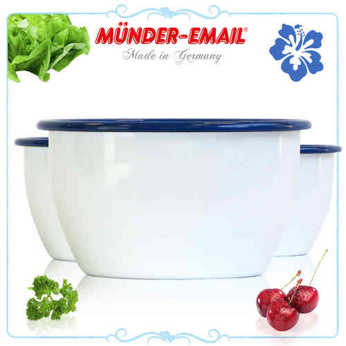 Münder Email - bowl - white with blue rim