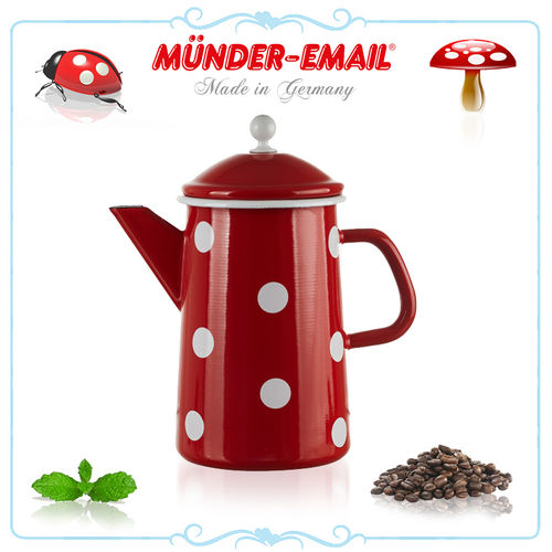 Münder Email - Coffee pot 1,6 L - dots red/white