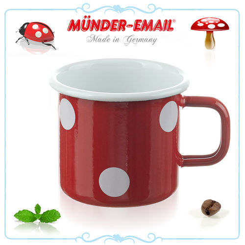 Münder Email - Mug 8 cm - dots red/white