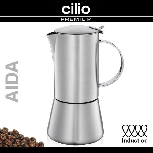 "cilio - Espresso Maker ""Aida"" satin finish - INDUCTION"