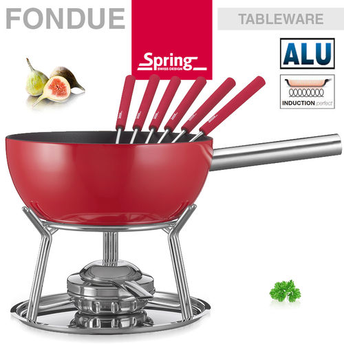 Spring - Fondue set alu induction red