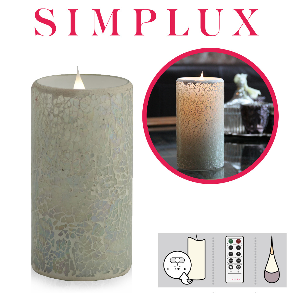 Simplux - Cracklé Glass - White