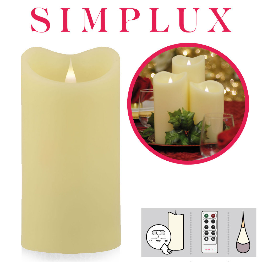 Simplux - Melted Top LED Kerze - Ivory