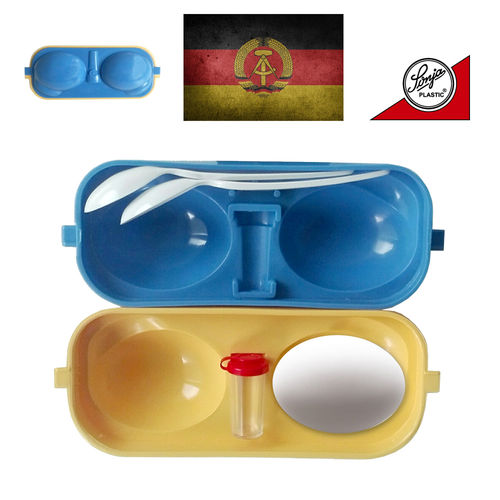 Sonja Plastic - Egg container with salt spreader + 2 spoons
