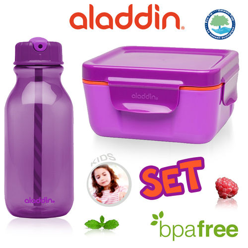 aladdin - Water Bottle + Food Container 400 ml Purple