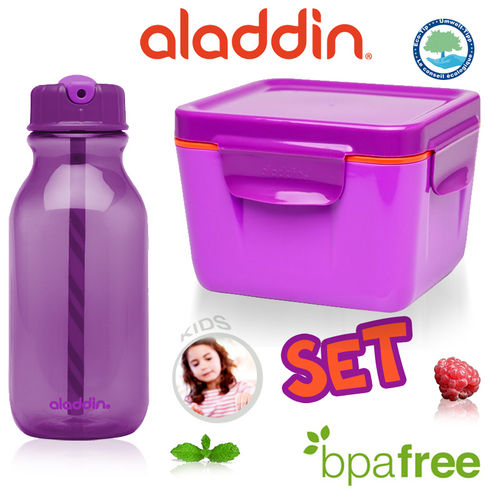 aladdin - Water Bottle + Food Container 700 ml Purple