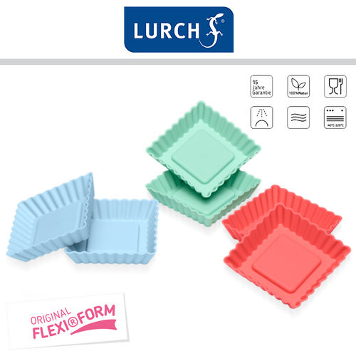 Lurch - Flexi®Form Tortelett Quader Set of 6 Pastel Mix