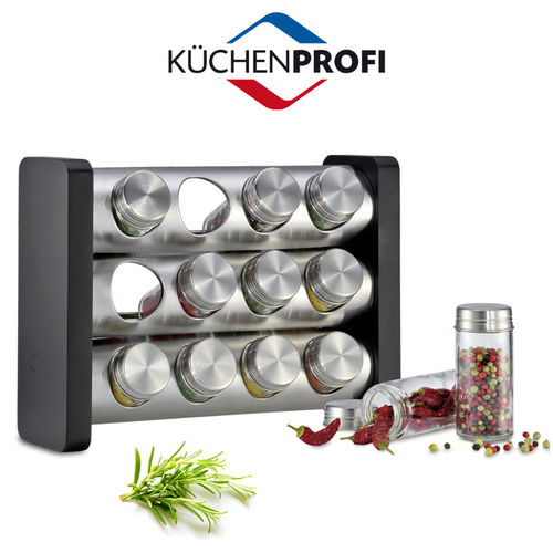 Küchenprofi - Spice rack with 12 glasses