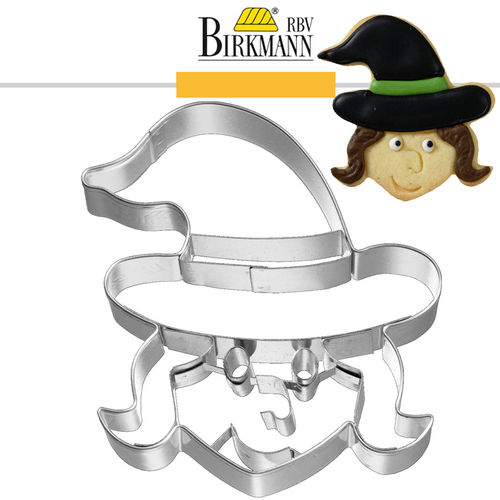 RBV Birkmann - Cookie cutter Witch face, frontal, 8 cm