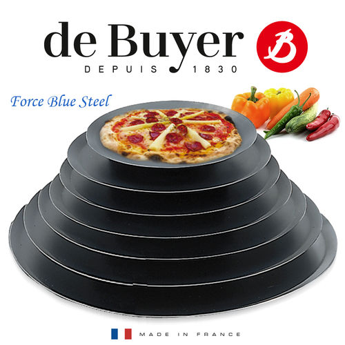 de Buyer - FORCE BLUE - Round Pizza Tray - blued iron
