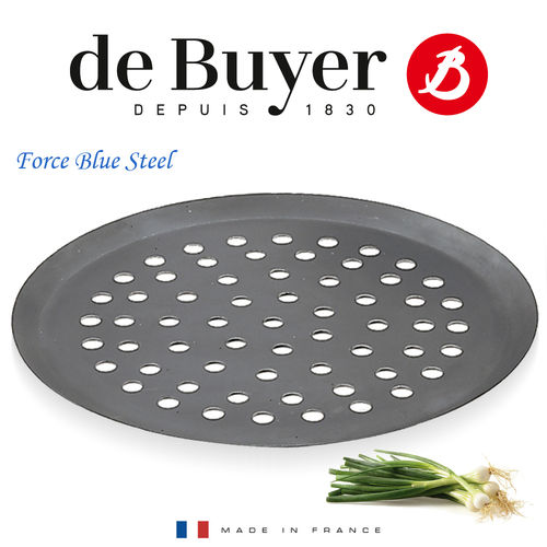 de Buyer - FORCE BLUE - Perforated Pizza Tray - blued iron