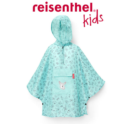 reisenthel - mini maxi poncho M - kids - cats and dogs mint