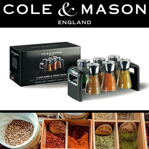 COLE & MASON - Shaw Filled Herb & Spice Rack 6 Jar