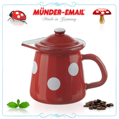 Münder Email - Jug with Lid - dots red/white