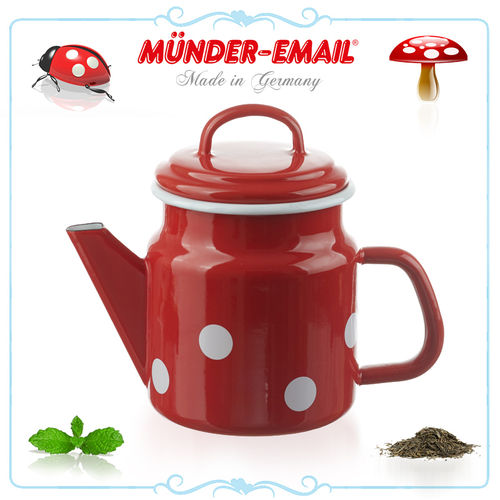 Münder Email - Teapot 1 L - dots red/white