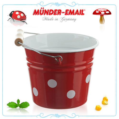 Münder Email - Bucket 14 cm - dots red/white