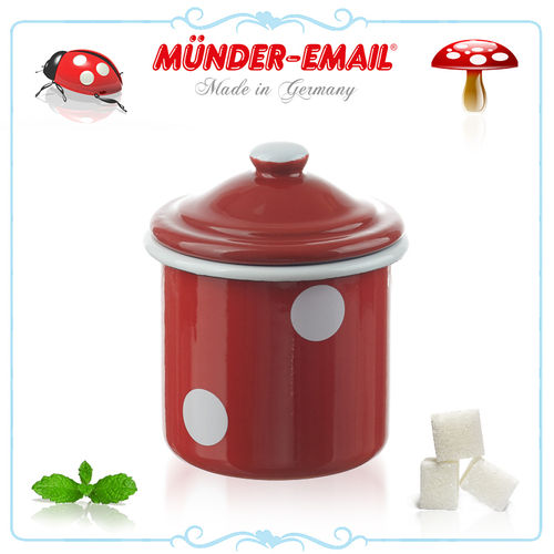 Münder Email - Sugar bowl Ø 8 cm - dots red/white