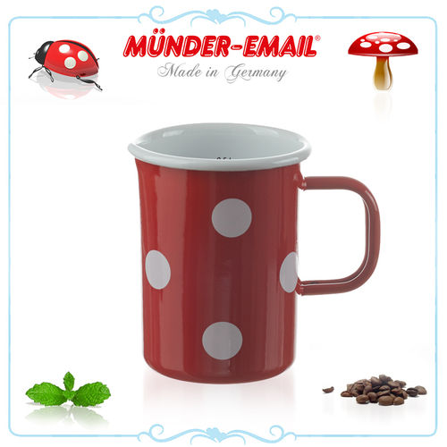 Münder Email - Measuring cup 0.5 L - dots red/white