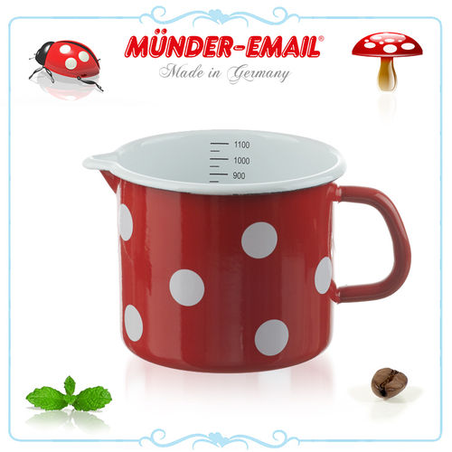 Münder Email - Measuring cup 1,0 L - dots red/white