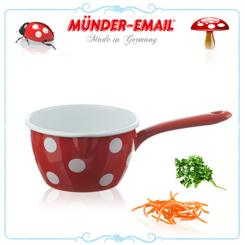 Münder Email - Saucepan Ø 16 cm - dots red/white