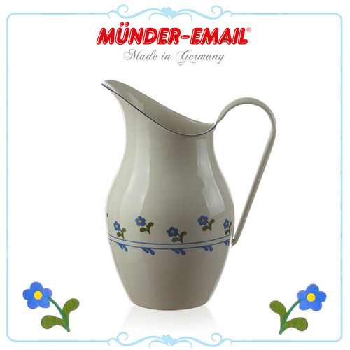 Münder Email - Water Pitcher 2,5 L - Beige with Flowers
