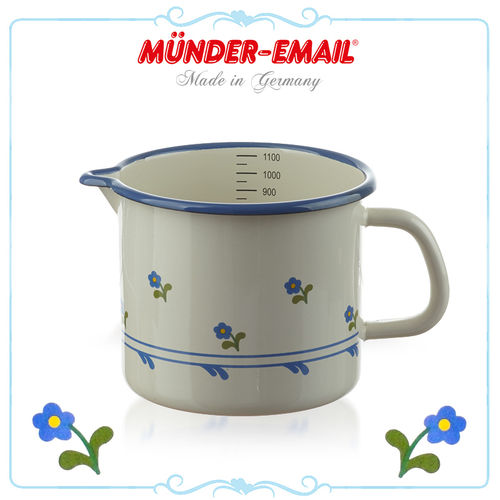 Münder Email - Measuring Cup 1.0 L - Beige with Flowers