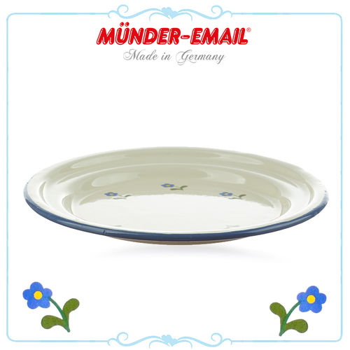 Münder Email - Children's plate 18 cm- Beige with Flowers